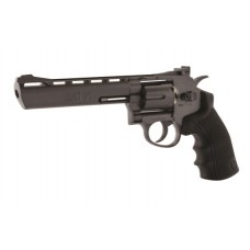 Black Ops 6 inch Barrel Black 12g CO2 Air Pistol Revolver Fires 4.5 mm steel BBs 6 shot
