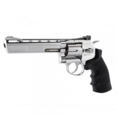 Black Ops 6 inch Barrel Silver 12g CO2 Air Pistol Revolver Fires 4.5 mm BBs 6 shot