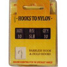 A PACK OF 10 BARBLESS HOOKS TO NYLON 5LB BREAKING STRAIN (SIZE 10)