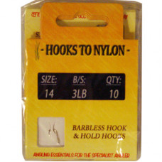 A PACK OF 10 BARBLESS HOOKS TO NYLON 3LB BREAKING STRAIN (SIZE 14)