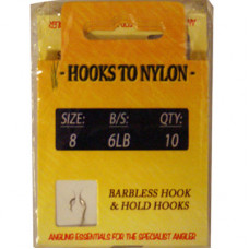 A PACK OF 10 BARBLESS HOOKS TO NYLON 6LB BREAKING STRAIN (SIZE 8)