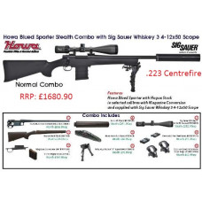 Howa Blued Sporter Stealth Combo with Sig Sauer Whiskey 3 4-12x50 Scope .223 Centrefire