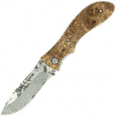 7 inch Damascus lock knive with burlwood handle (K-DS-LK-991) with presentation box