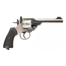 Webley MKVI Service Revolver 12g co2 Air Pistol .177 calibre 4.5mm Pellet version .455 Limited Edition Silver Finish with Black 2.1 ft/lbs (WPIMK6SB45)